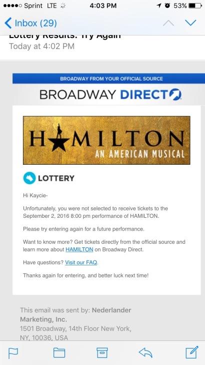 Hamilton Broadway Lottery